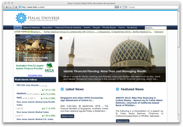 Halal-U.com publishes news and market intelligence on a wide spectrum of investment asset classes that fall under the Shariah-compliant space for the retail market, including equities, REITs/real estate, gold, unit trusts, consumer finance, private equity and Islamic insurance.
