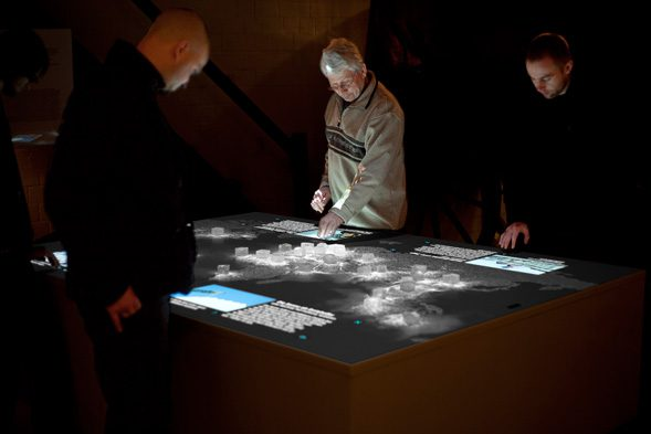 """The interactive installation """"Salt worldwide"""" comprises 34 touch sensitive salt crystals spreading over a world map highlighting salt extraction areas."""