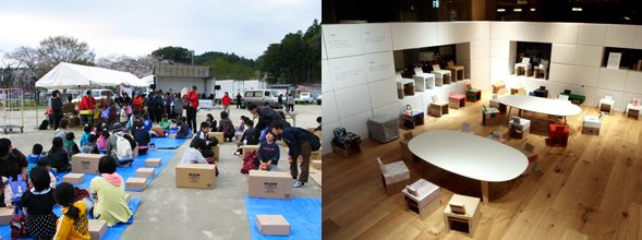 Workshop activity for children and parents held at Fukushima. MUJI aims to promote the use of recycled materials to create paper tube chairs which leaves no garbage behind.