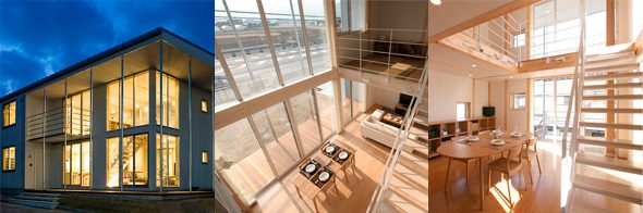 MUJI wooden house designed to make the most of sunlight and ventilation.