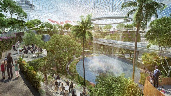 Artist's impression of Project Jewel, which will feature a large-scale, lush indoor garden and waterfall (PHOTO: Changi Airport Group)