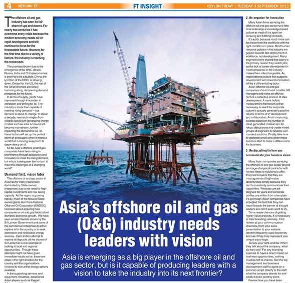 Asia's Offshore Oil and Gas need Leaders with Vision