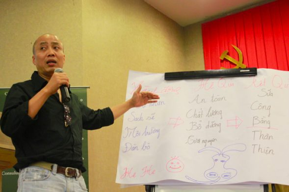 Participant presenting the formula for 3 Signs