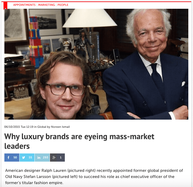 Why luxury brands are eyeing mass-market leaders – Consulus comments on Ralph Lauren's Succession Plan