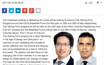 CIM SL to hold second Talking Point programme and CEOs Breakfast Forum – Consulus on Daily Mirror (Sri Lanka)